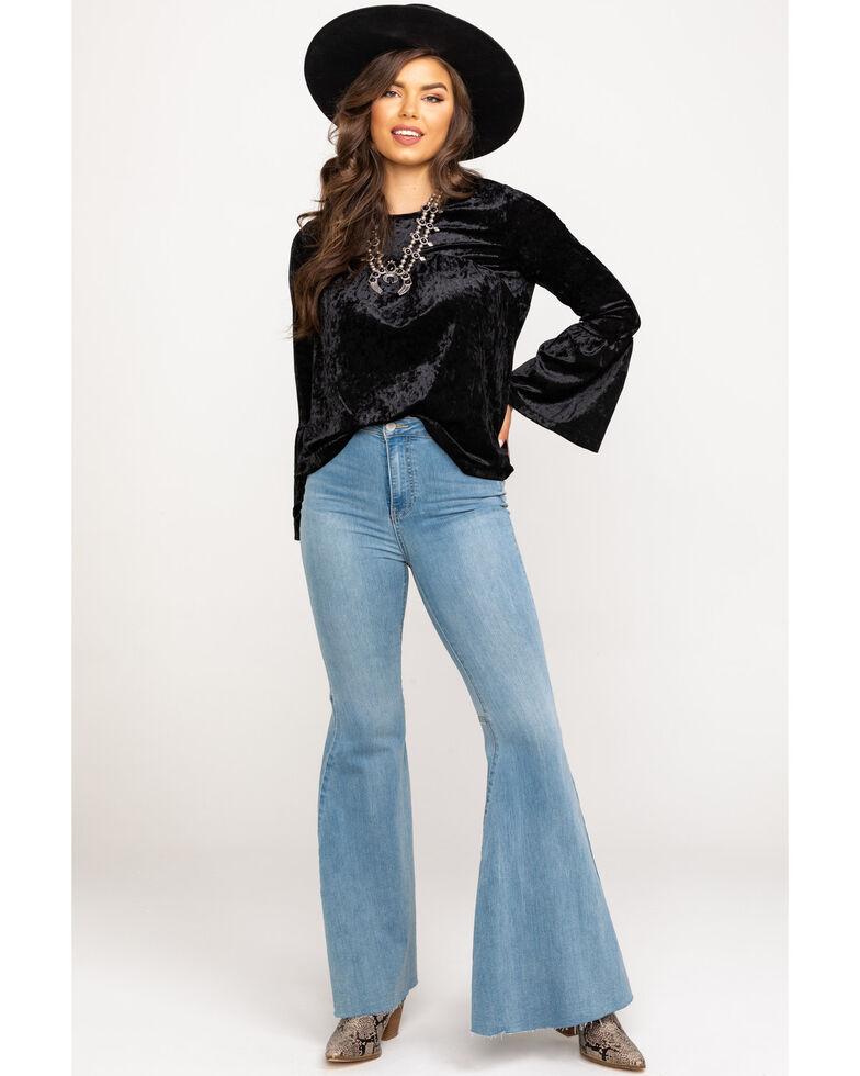 Wrangler Women's Black Crushed Velvet Bell Sleeve Top, Black, hi-res