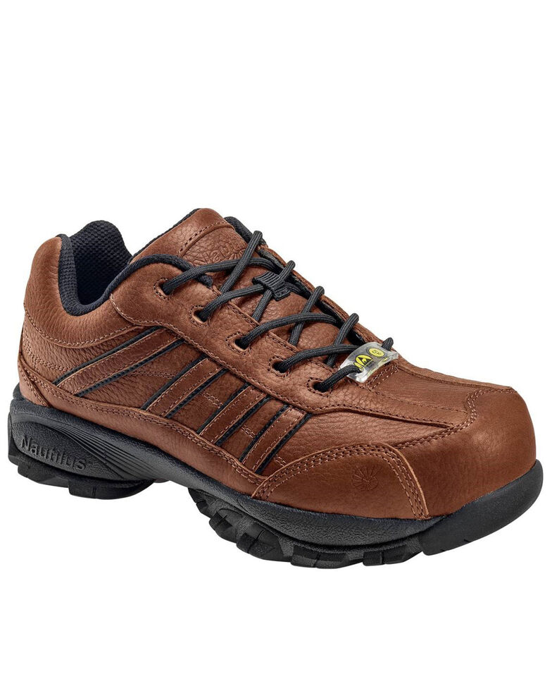 Nautilus Men's Steel Toe ESD Lace Up Work Shoes, Brown, hi-res