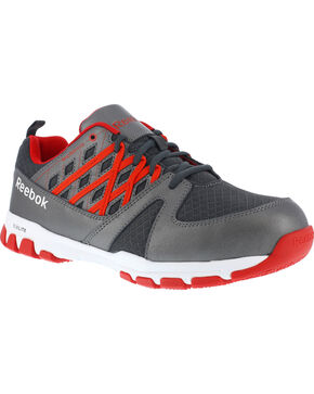 Reebok Men's Athletic Oxfords - Steel Toe, Grey, hi-res
