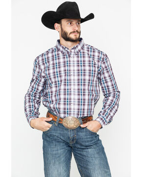 Cody Core Men's Lincoln Medium Plaid Long Sleeve Western Shirt , White, hi-res