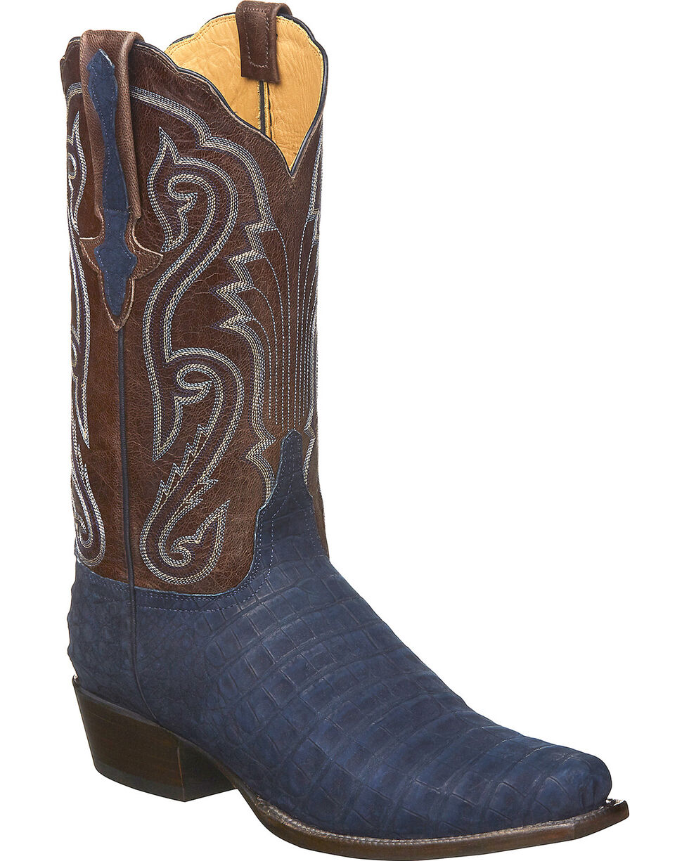 Lucchese Men's Handmade Owen Navy/Cafe Sueded Caiman Belly Western Boots - Snip Toe, Navy, hi-res