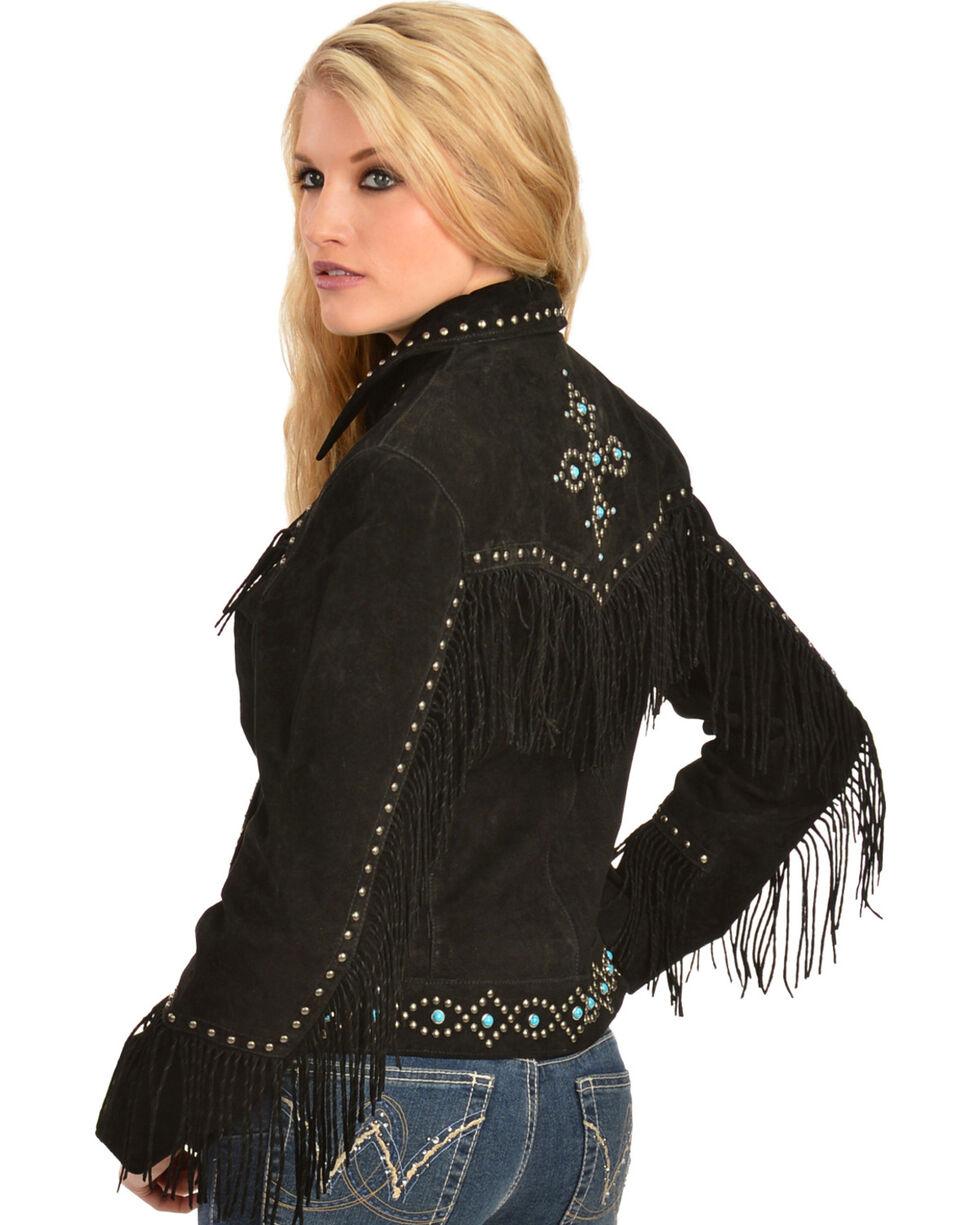 Scully Studded Fringe Jacket, Black, hi-res