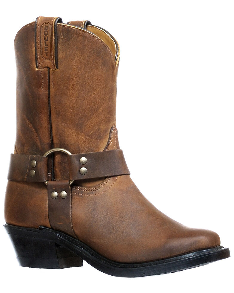 Boulet Women's Brown Moto Boots - Narrow Square Toe, Dark Brown, hi-res