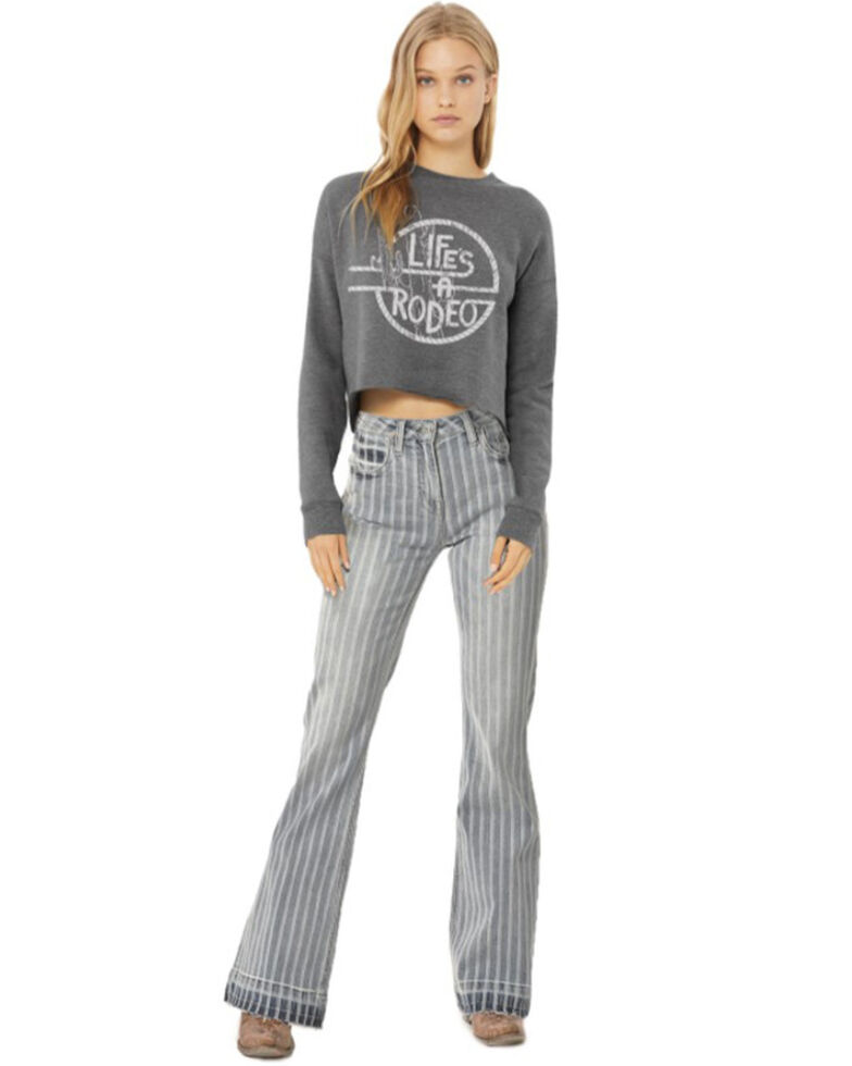 Rock & Roll Denim Women's Life Is A Rodeo Graphic Cropped Top , Charcoal, hi-res