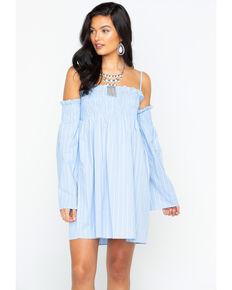 Wrangler Women's Blue Off The Shoulder Dress , Blue, hi-res
