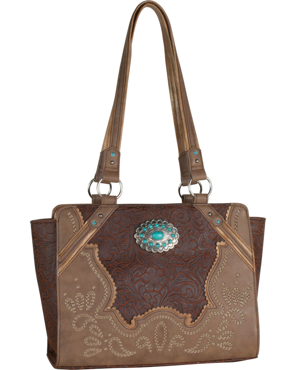Justin Women's Brown 2-Tone Inlay Handbag , Brown, hi-res