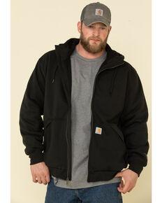 Carhartt Men's Black Rain Defender Thermal Lined Zip Hooded Work Sweatshirt - Tall, Black, hi-res