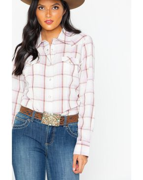 As Real As Wrangler Women's Plaid Snap Long Sleeve Western Shirt, Lavender, hi-res