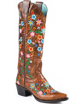 Stetson Women's Flora Snip Toe Western Boots, Brown, hi-res