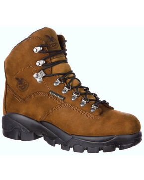 Georgia Boot Men's Suspension System Waterproof Work Boots - Steel Toe , Brown, hi-res