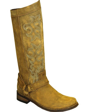 "Rawhide by Abilene Women's 12"" Tall Side Zipper Harness Boots - Round Toe, Brown, hi-res"