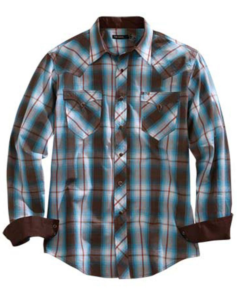 Tin Haul Men's Turquoise Plaid Short Sleeve Western Shirt , Brown, hi-res