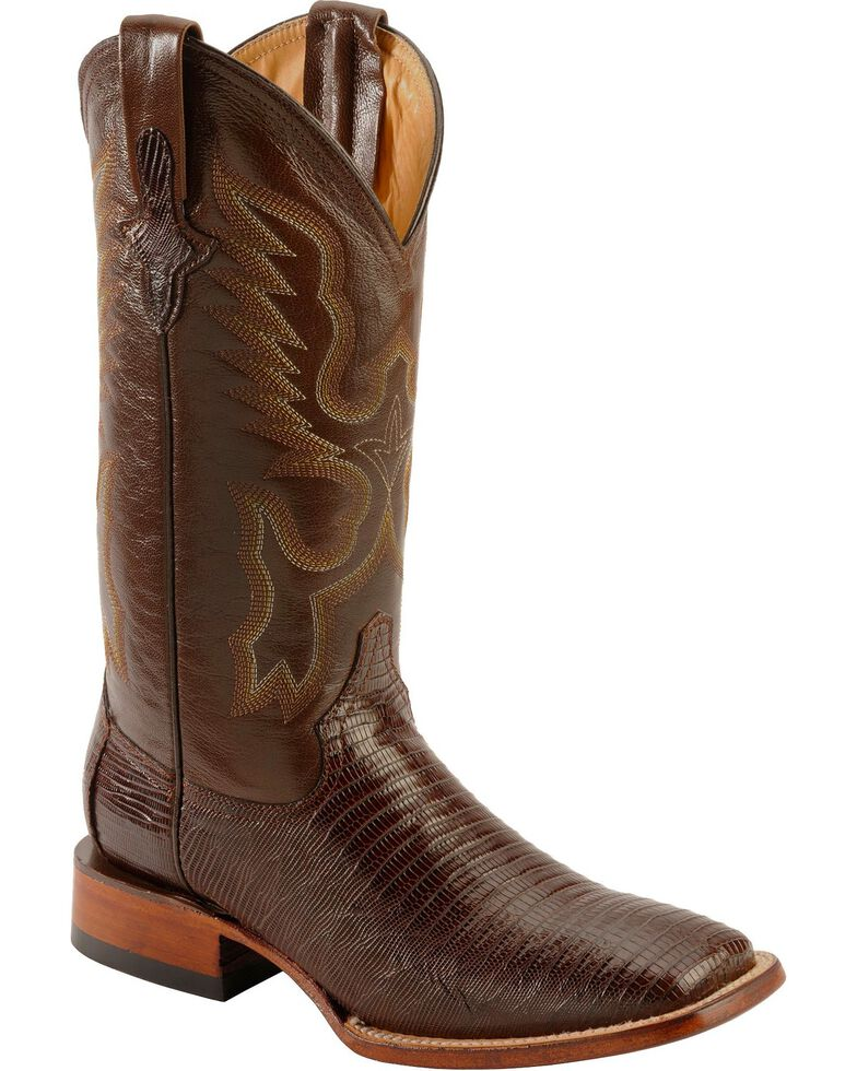 Ferrini Chocolate Teju Lizard Cowboy Boots - Wide Square Toe, Chocolate, hi-res