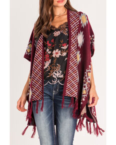 Miss Me Women's Tribal Inspired Open Front Poncho , Burgundy, hi-res
