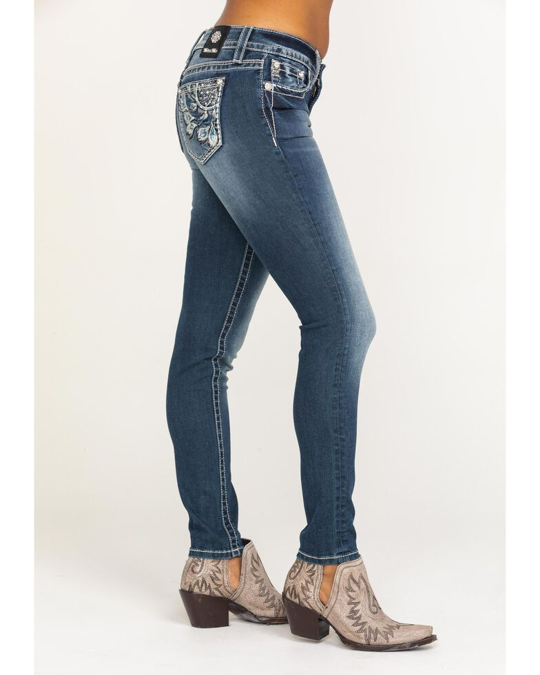 Miss Me Women's Peacock Feather Dream-catcher Skinny Jeans, Blue, hi-res