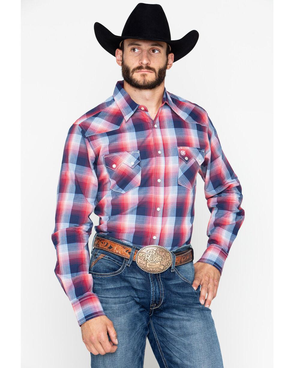Wrangler Mens' Retro Medium Plaid Long Sleeve Shirt , Navy, hi-res
