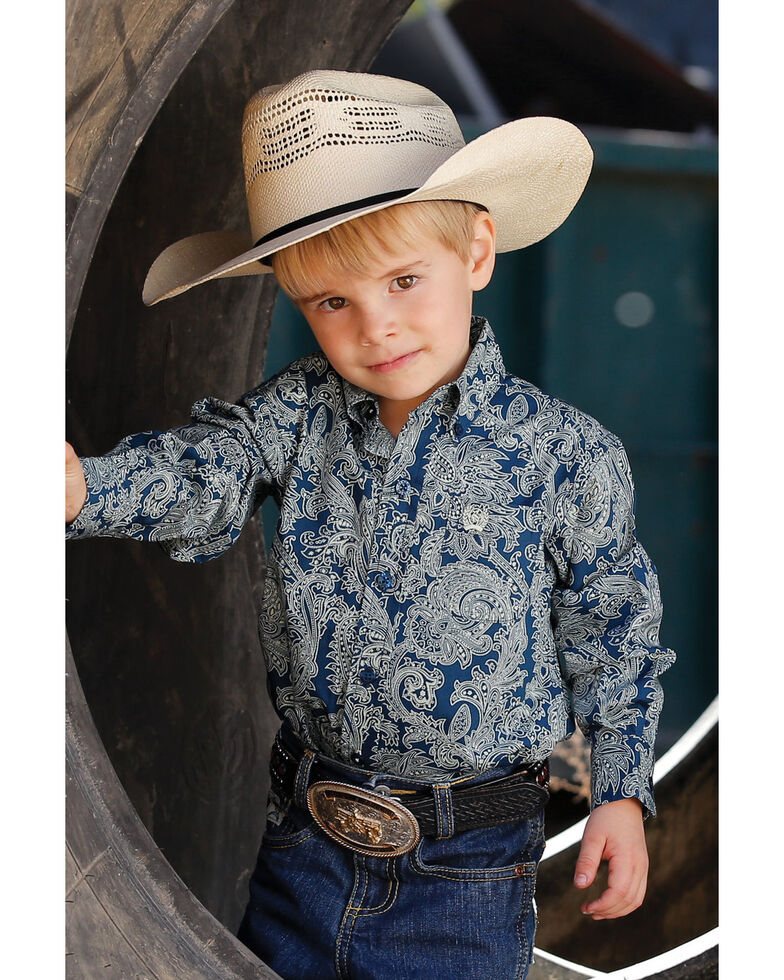 Cinch Toddler Boys' Navy Paisley Print Long Sleeve Western Shirt , Navy, hi-res