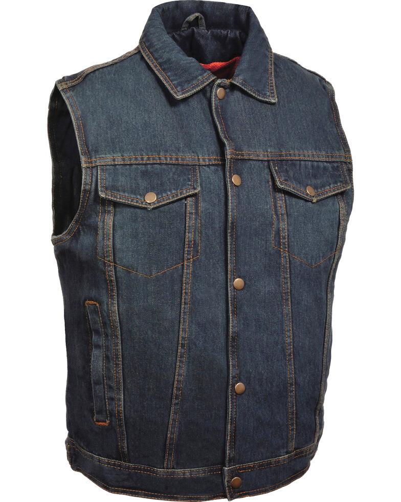 Milwaukee Leather Men's Snap Front Denim Vest w/ Shirt Collar- Big - 3X, Blue, hi-res