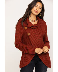 White Label by Panhandle Women's Waffle Knit Crossover Cowl, Rust Copper, hi-res
