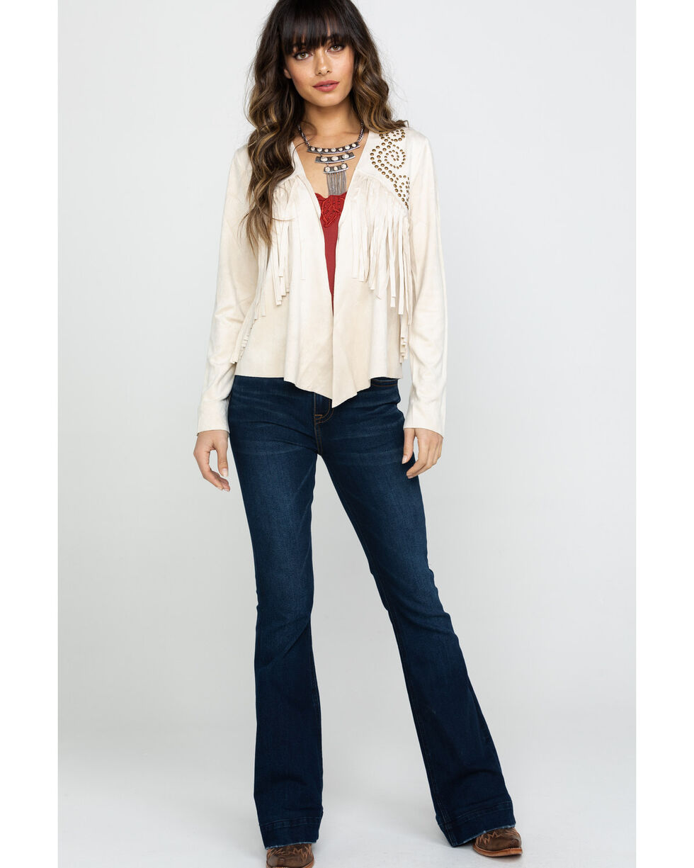 Vocal Women's Stone Suede Fringe & Stud Jacket , Stone, hi-res