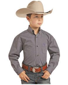 Panhandle Select Boys' Purple Brushed Poplin Print Long Sleeve Western Shirt , Purple, hi-res