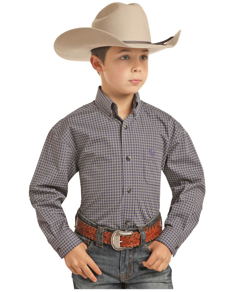 Panhandle Select Boys' Purple Brushed Poplin Print Long Sleeve Western Shirt , Purple, hi-res