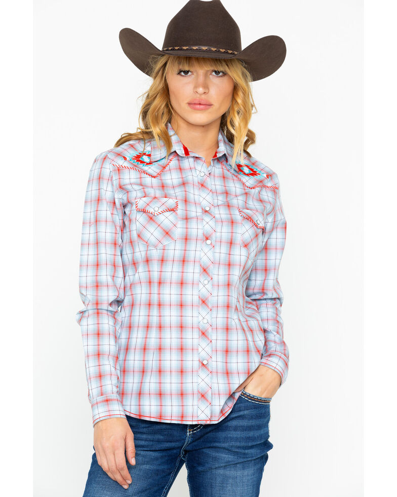 Panhandle Women's Tabor Vintage Long Sleeve Western Shirt, Multi, hi-res