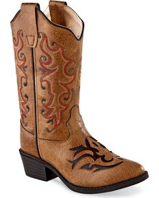 Old West Girls' Tan Fancy Stitch Inlay Boots - Round Toe , Tan, hi-res
