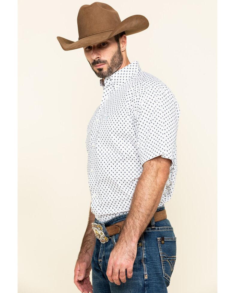 Ariat Men's Napden Stretch Bull Geo Print Short Sleeve Western Shirt , White, hi-res