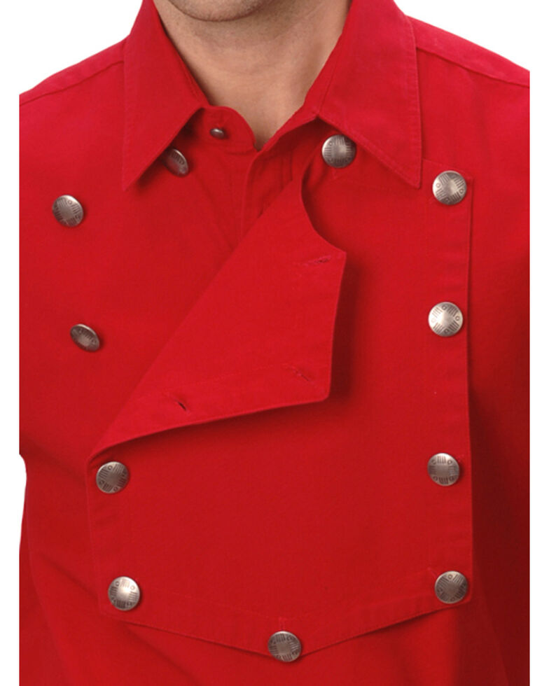 Rangewear by Scully Men's Solid Frontier Engineer Long Sleeve Western Bib Shirt, Red, hi-res