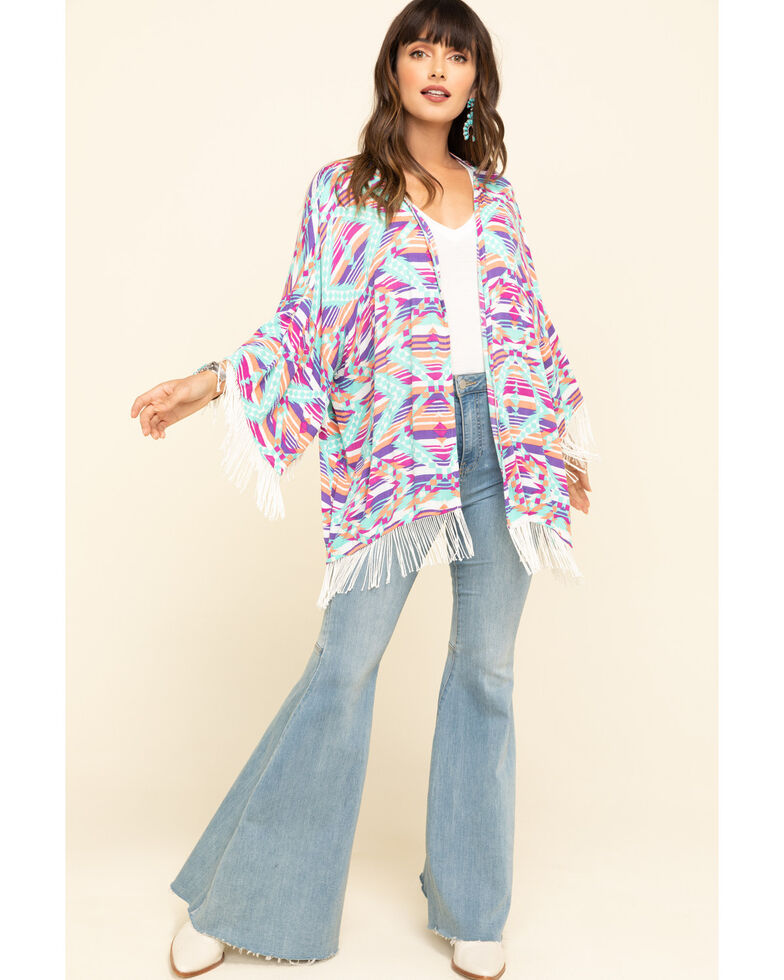 Rock & Roll Denim Women's Stripe Aztec Fringe Kimono, Turquoise, hi-res