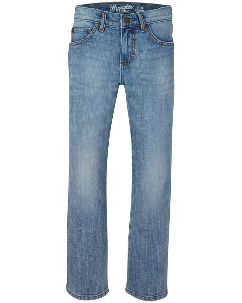 Wrangler Retro Boys' Jacksboro Stretch Slim Straight Jeans , Blue, hi-res