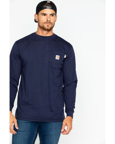 Carhartt Men's Long Sleeve Flame Resistant Force T-Shirt, Navy, hi-res