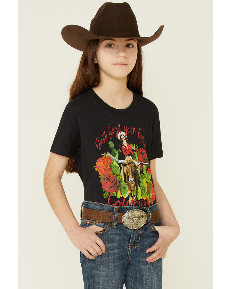 Rodeo Quincy Girls' Lipstick Cowgirl Graphic Short Sleeve Tee , Black, hi-res