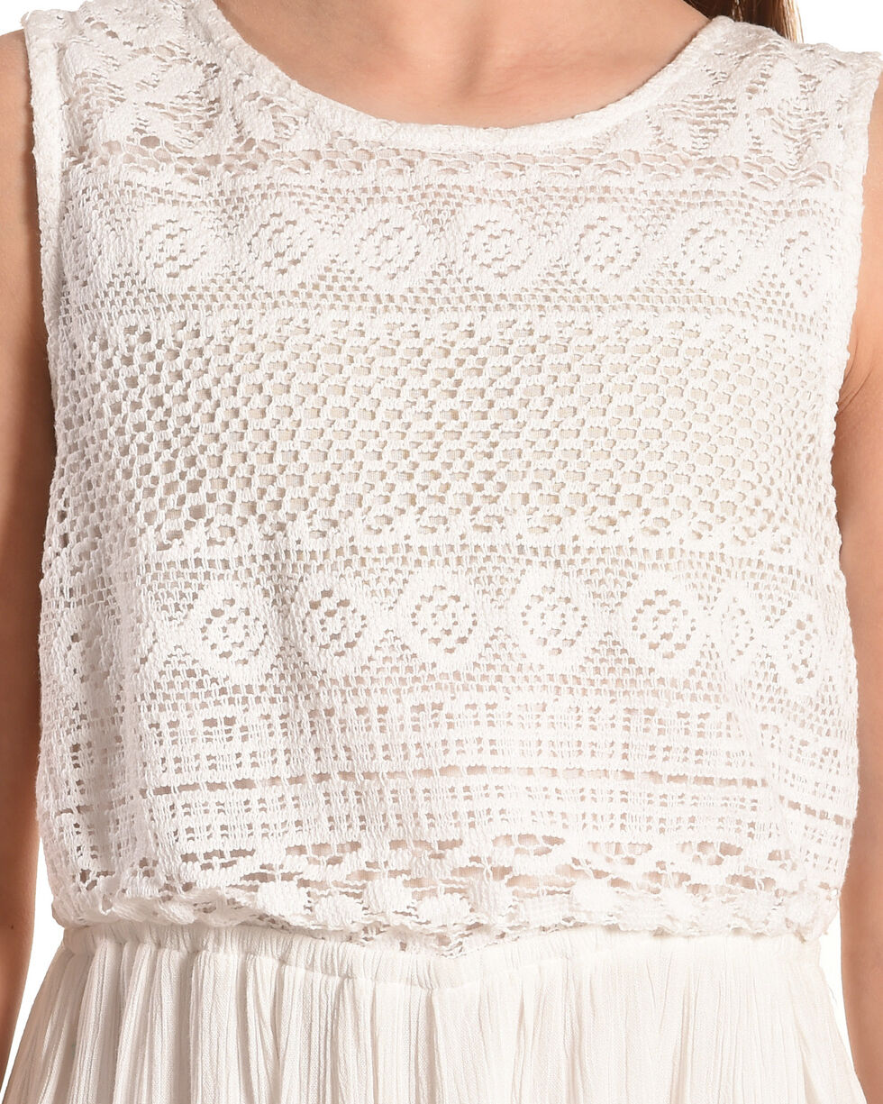 Silver Girls' White Sleeveless Lace Dress, White, hi-res