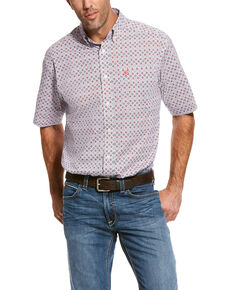 Ariat Men's Rivas Stretch Geo Print Short Sleeve Western Shirt , White, hi-res