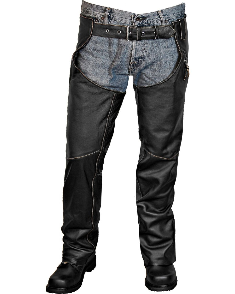Interstate Leather Men's Gangster Chaps, Black, hi-res