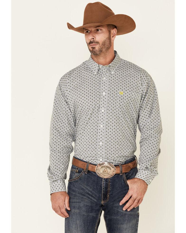 Cinch Men's White Circle Geo Print Long Sleeve Button-Down Western Shirt , White, hi-res