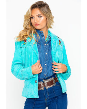 Cripple Creek Women's Turquoise Embroidered Fringe Leather Jacket, Turquoise, hi-res