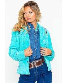 Cripple Creek Women's Turquoise Embroidered Fringe Leather Jacket, Turquoise, hi-res