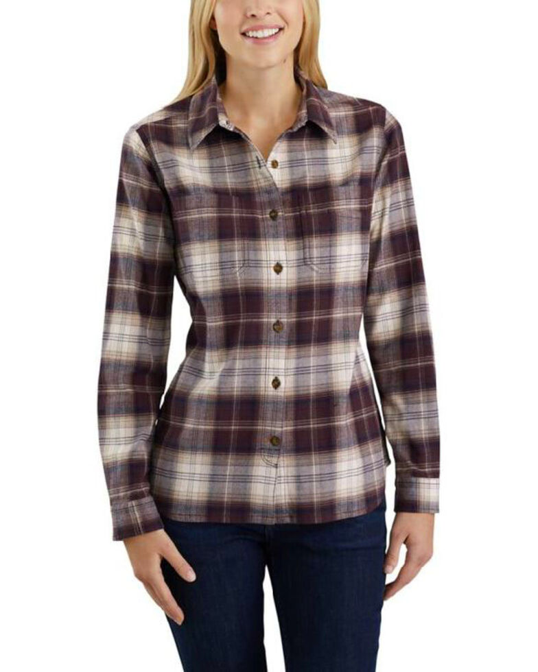 Carhartt Women's Rugged Flex Hamilton Flannel Work Shirt , Wine, hi-res