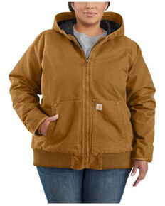 Carhartt Women's Brown Washed Duck Active Jacket - Plus , Brown, hi-res
