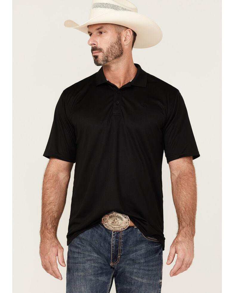 Ariat Black Tek Polo Shirt, Black, hi-res
