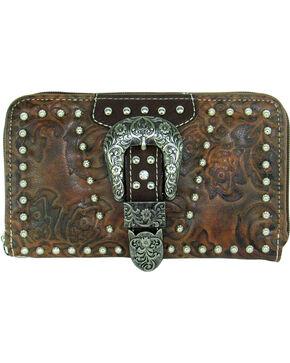 Savana Women's Tooled Zip Around Wallet, Tan, hi-res