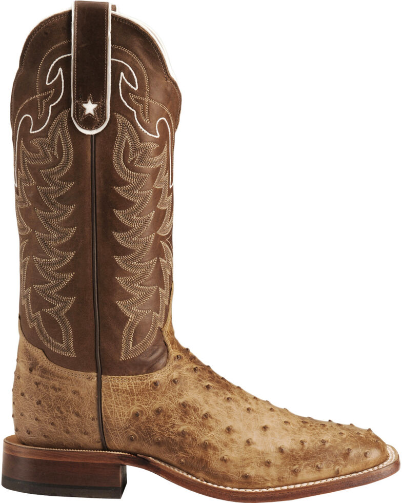 Tony Lama Men's Full Quill Ostrich Boot - Square Toe, Antique Tan, hi-res