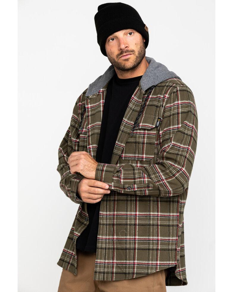 Hawx Men's Olive Mission Plaid Hooded Long Sleeve Shirt Work Jacket - Tall , Olive, hi-res