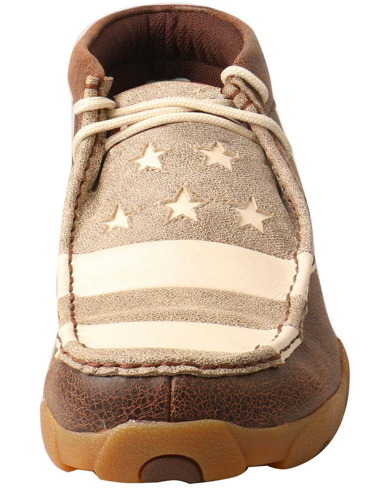 Twisted X Men's Patriotic Driving Moccasin Shoes - Moc Toe, Brown, hi-res