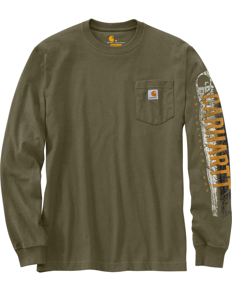 Carhartt Workwear Men's Saw Graphic Long Sleeve T-Shirt, Green, hi-res