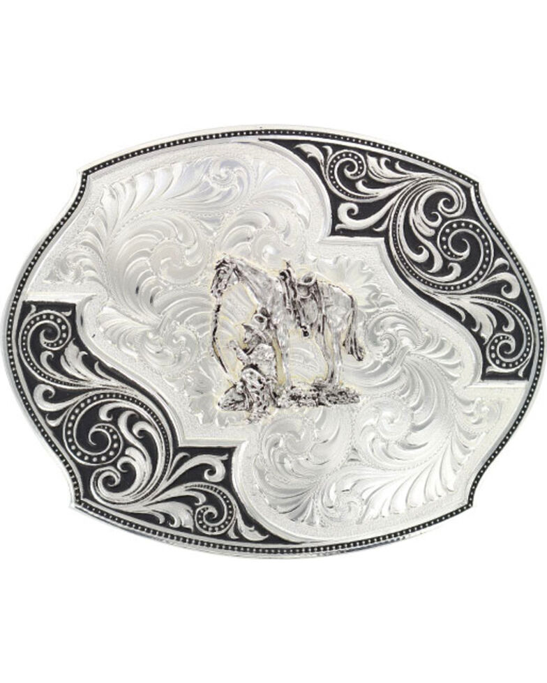 Montana Silversmiths Lace Whisper Flourish Belt Buckle, Silver, hi-res