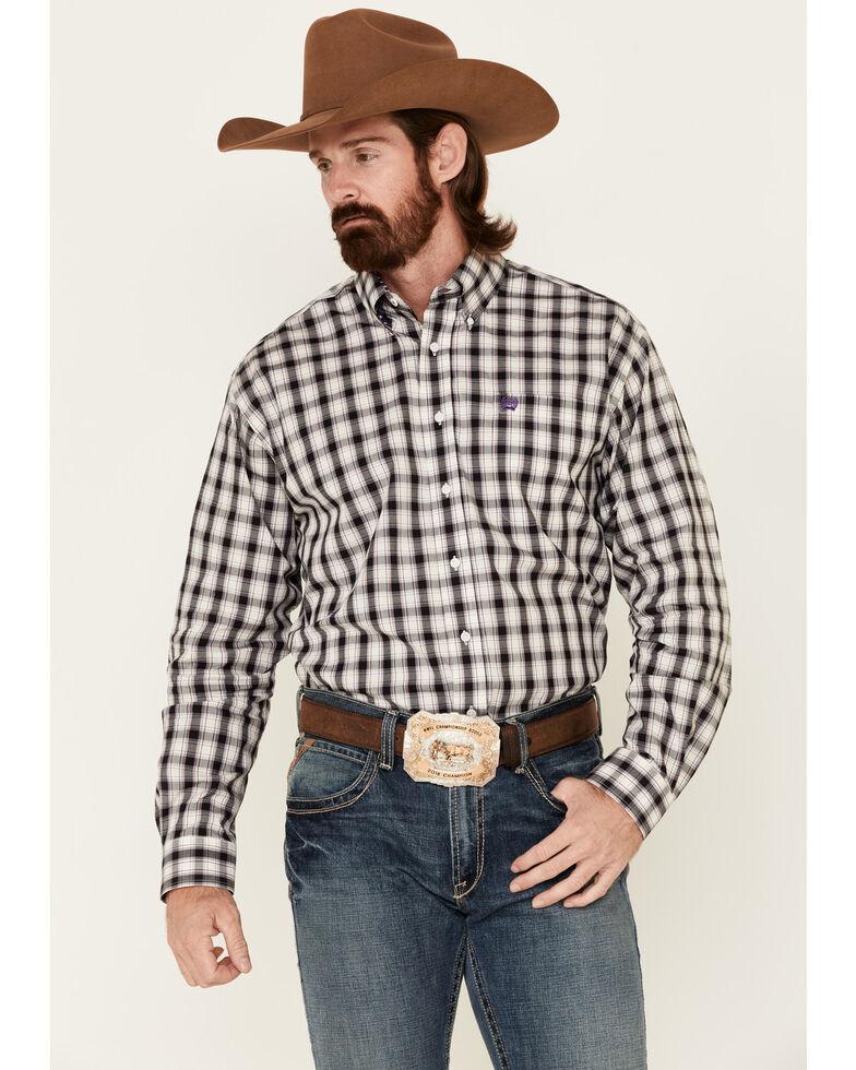 Cinch Men's Basket Weave Stretch Plaid Long Sleeve Western Shirt , Purple, hi-res